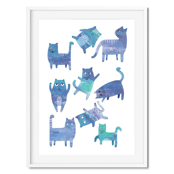A print of funny blue cats.