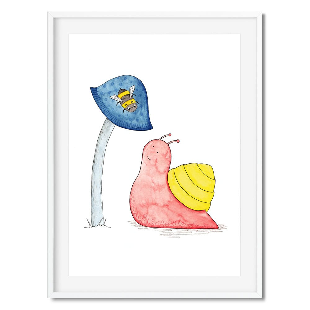 A print of a pink and yellow snail looking up at a bee on a mushroom.