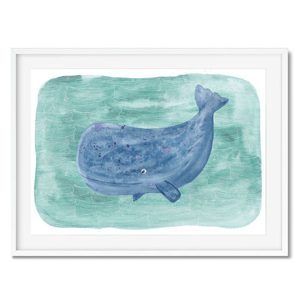 Wall art of a sperm whale on a teal sea background.