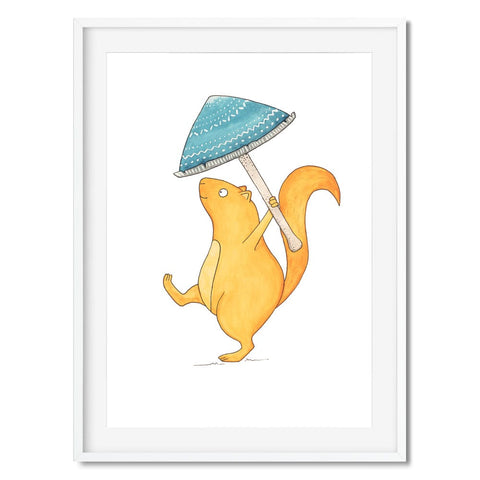 A illustration of a squirrel marching under a blue mushroom umbrella.