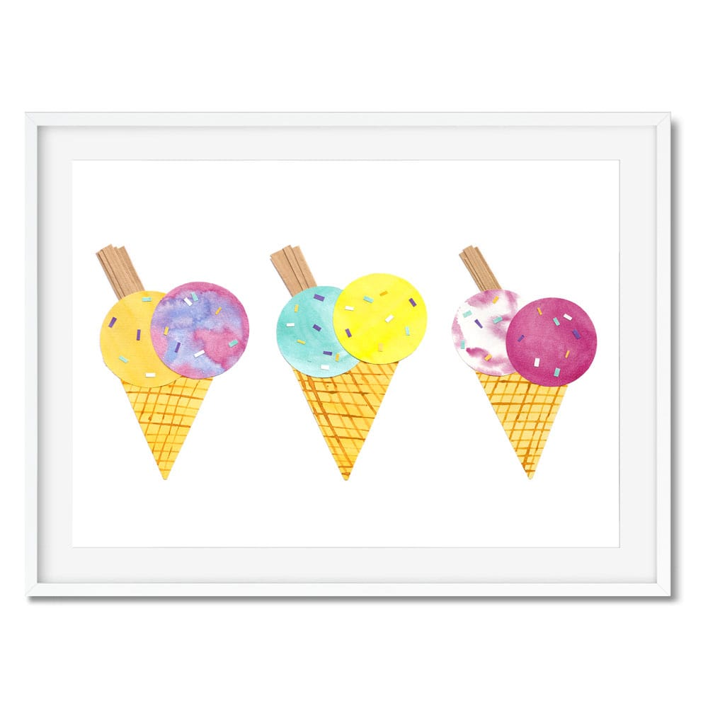 Three colourful ice-cream cones wall art