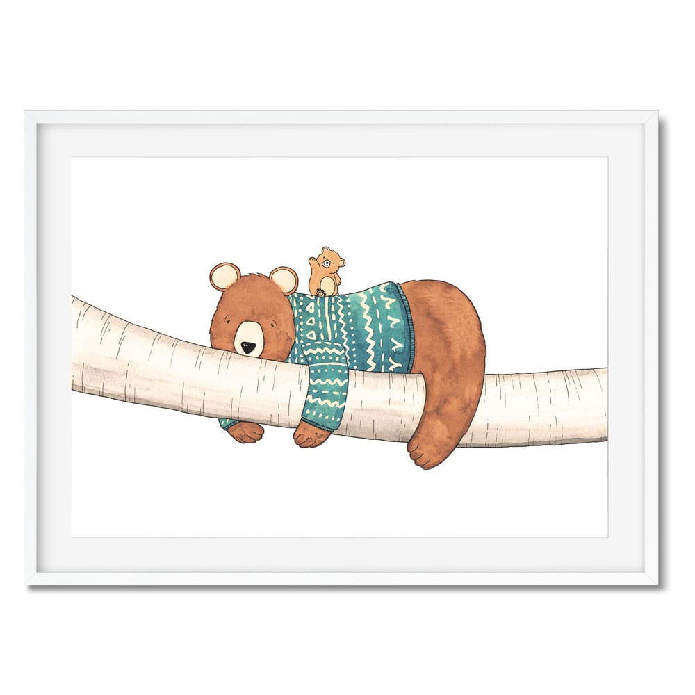 Tired bear with a lively bear cub scandi style wall art.