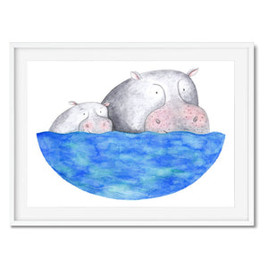 Wall art of a hippo family.