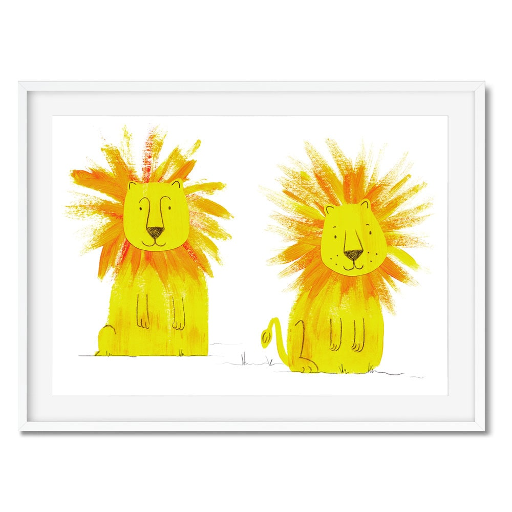Wall art of two cute lions.