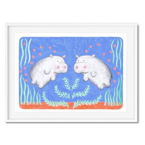 Two underwater hippos are swimming in this art print.