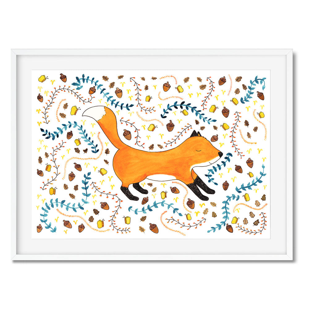 Wall art of a young fox surrounded by a woodland inspired pattern of acorns, butterflies and foliage.