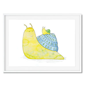 Print of a little, yellow, baby snail riding on it's parents back.