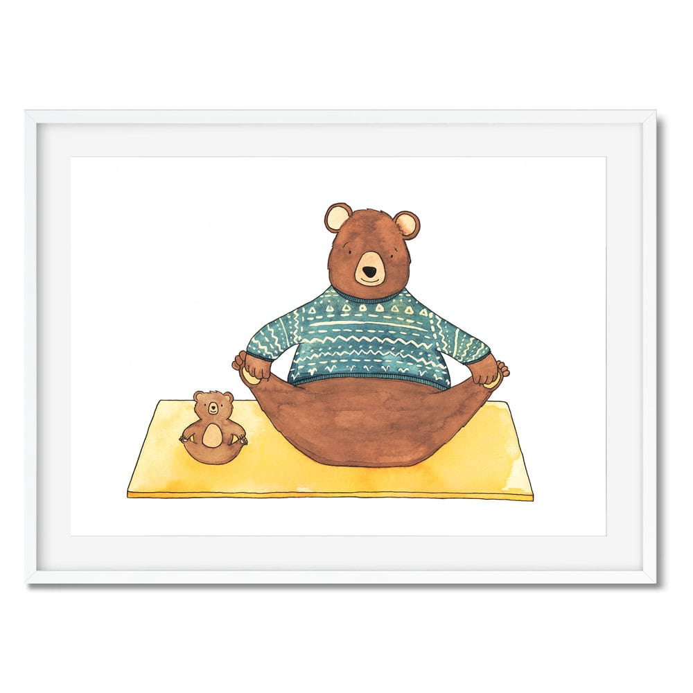 Print of a big and little bear doing yoga on a mat. Has a scandi style to it.
