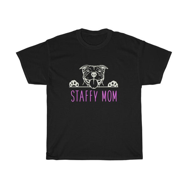 Staffy Mom with Staffordshire Bull Terrier Dog T-Shirt