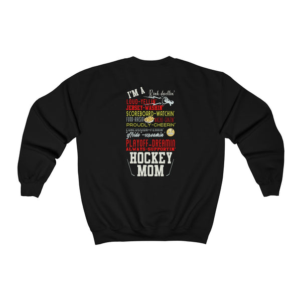 Hockey Mom Supporter Sweatshirt (Back Print)