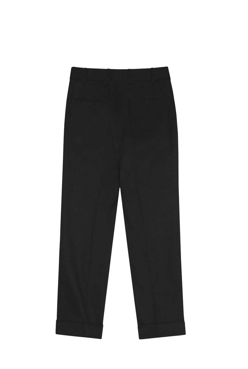 BLACK PLEATED CROPPED TWILL TROUSERS