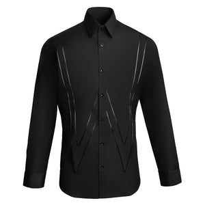 W APPLIQUE POINT COLLAR SHIRT - BLACK