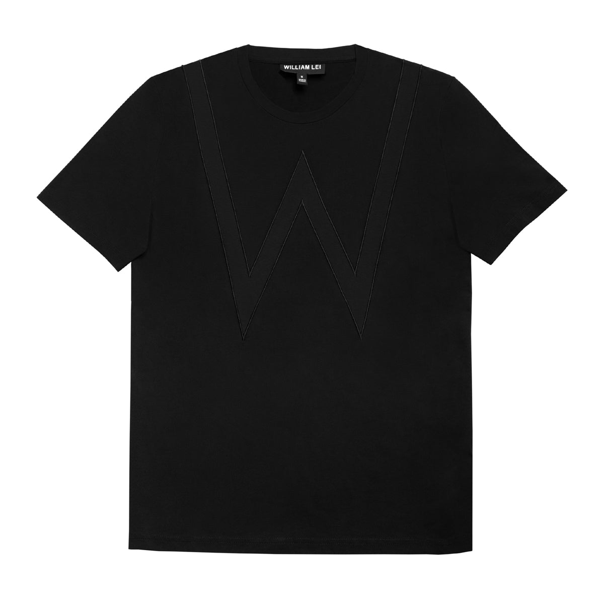 W APPLIQUE CREWNECK T-SHIRT - BLACK