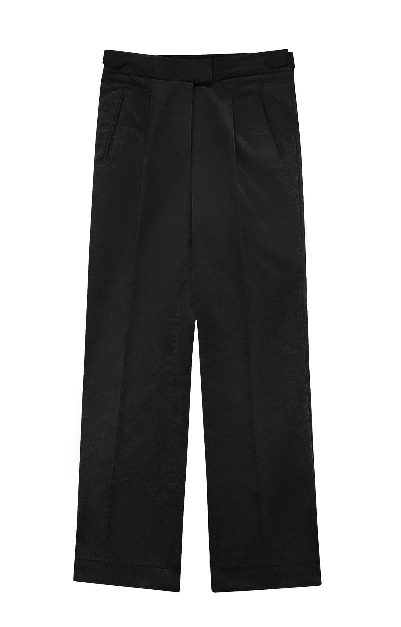 BLACK VELVET PLEATED TROUSERS (PRE-ORDER)