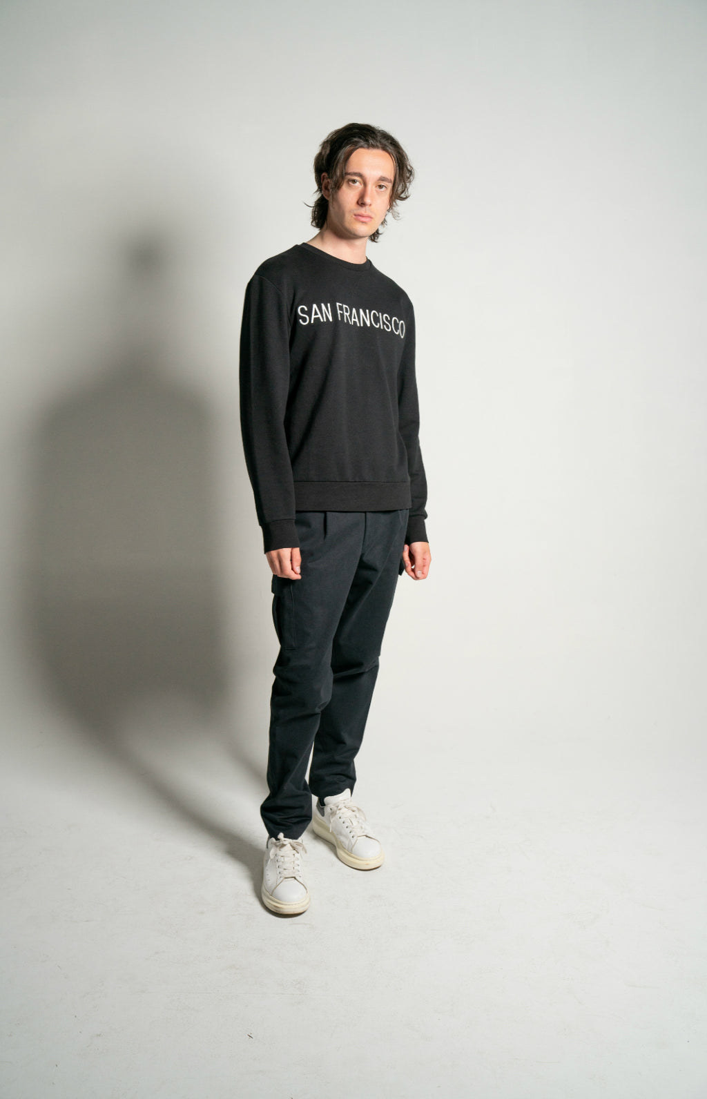 "BLACK ""SAN FRANCISCO"" Embroidered Loopback Cotton Sweatshirt"