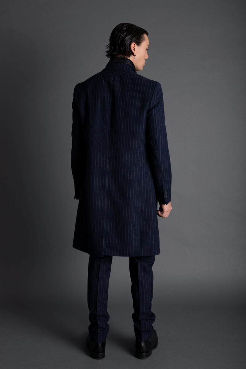 NAVY FRESCO CHALKSTRIPE COAT