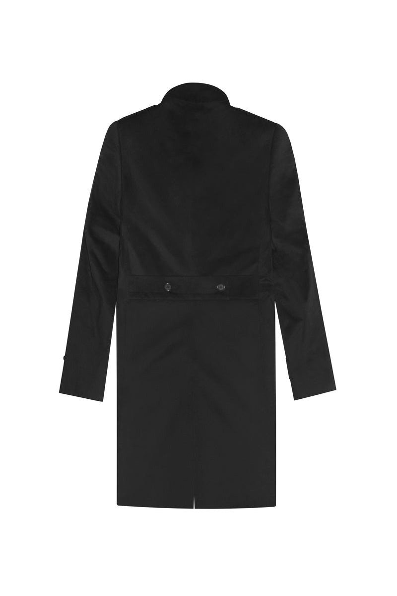 BLACK GABARDINE MAC COAT