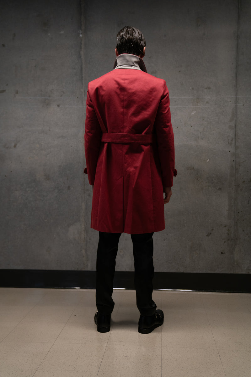 RED TWILL TRENCH COAT