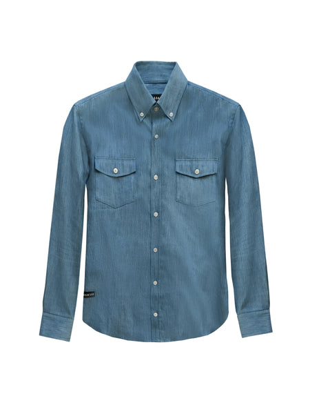WASHED STRETCH DENIM OVER SHIRT