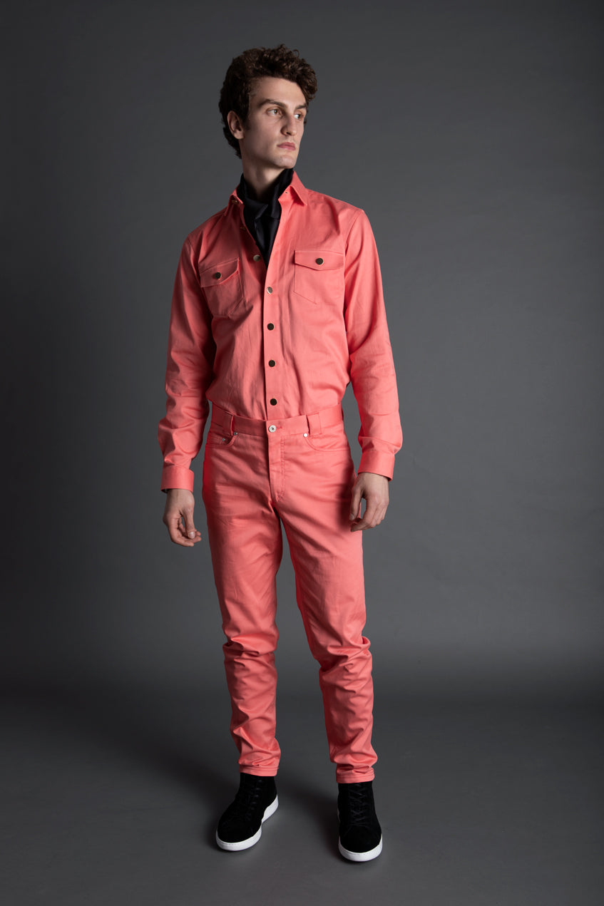 PINK COTTON TWILL OVERSHIRT