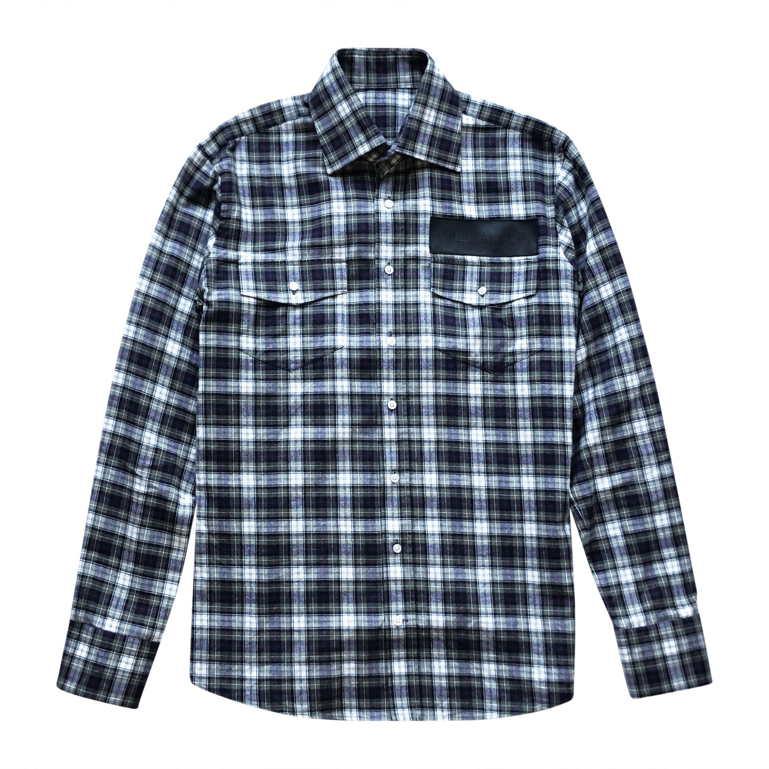 LEATHER TRIM FLANNEL CHECK SHIRT