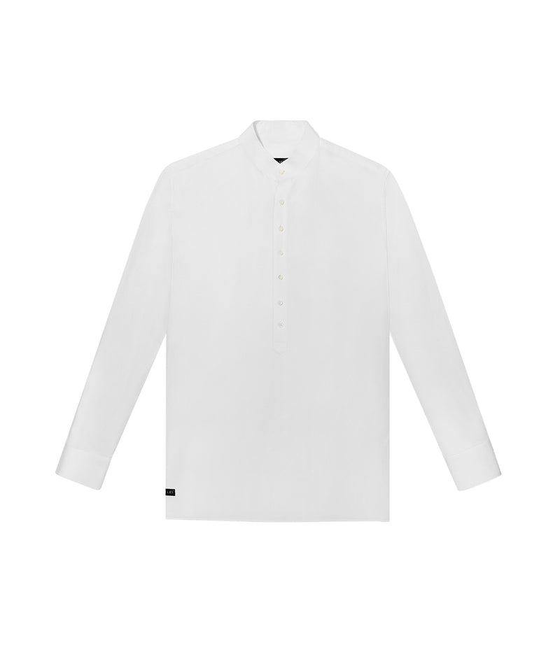 LINEN BLEND BAND-COLLAR HALF PLACKET SHIRT