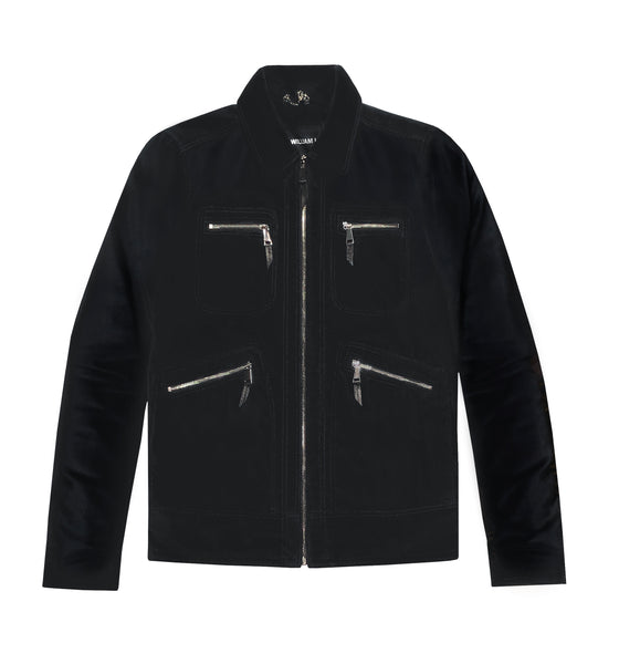 BLACK VELVET ZIPPER JACKET