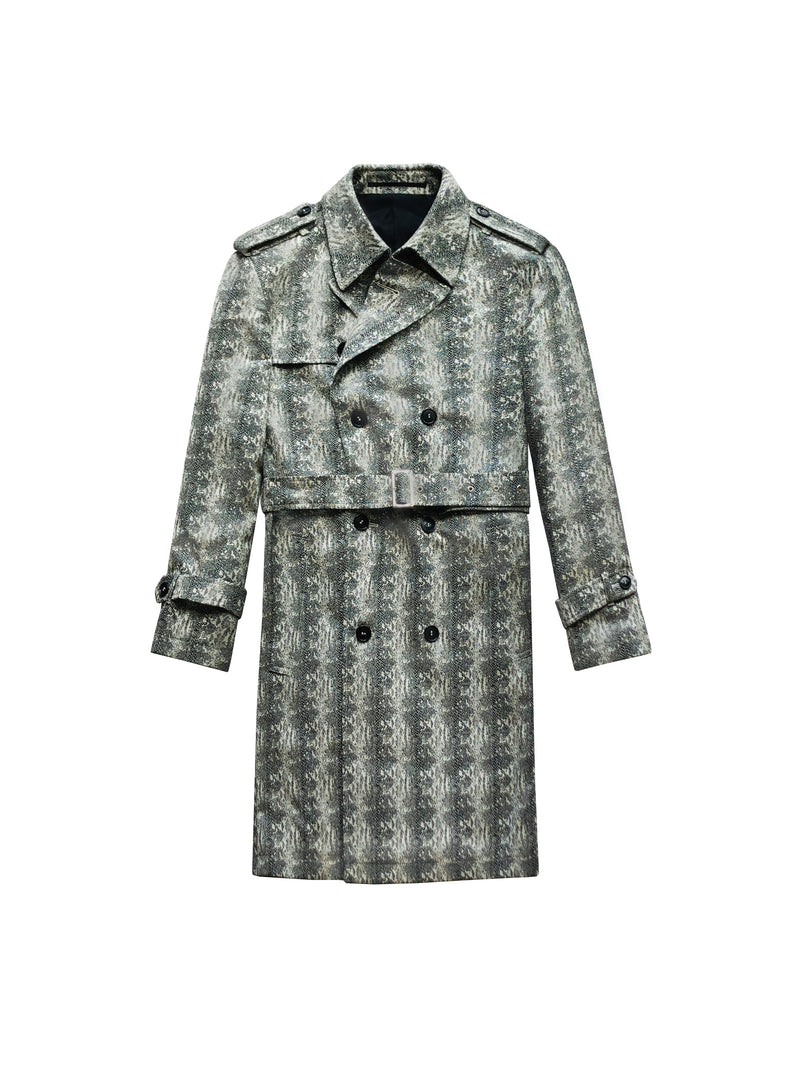 SNAKESKIN PRINTED WOOL TRENCH COAT