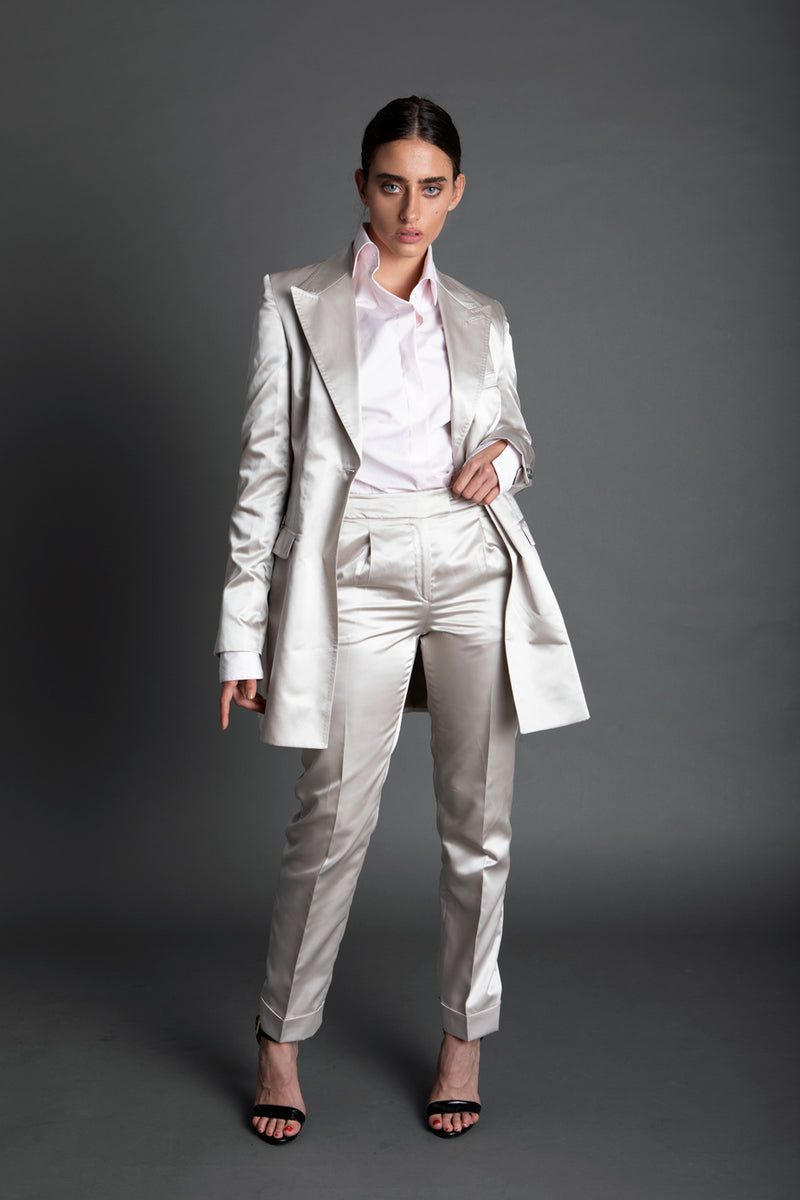 SILVER SATIN TAILORED TROUSERS (PRE-ORDER)