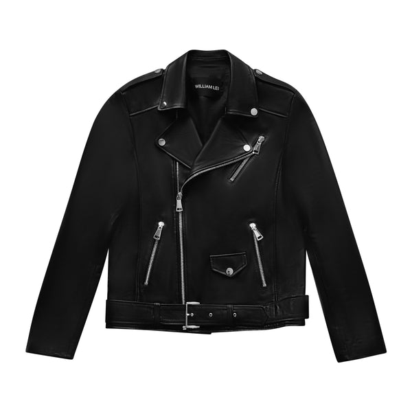SLIM FIT LEATHER BIKER JACKET