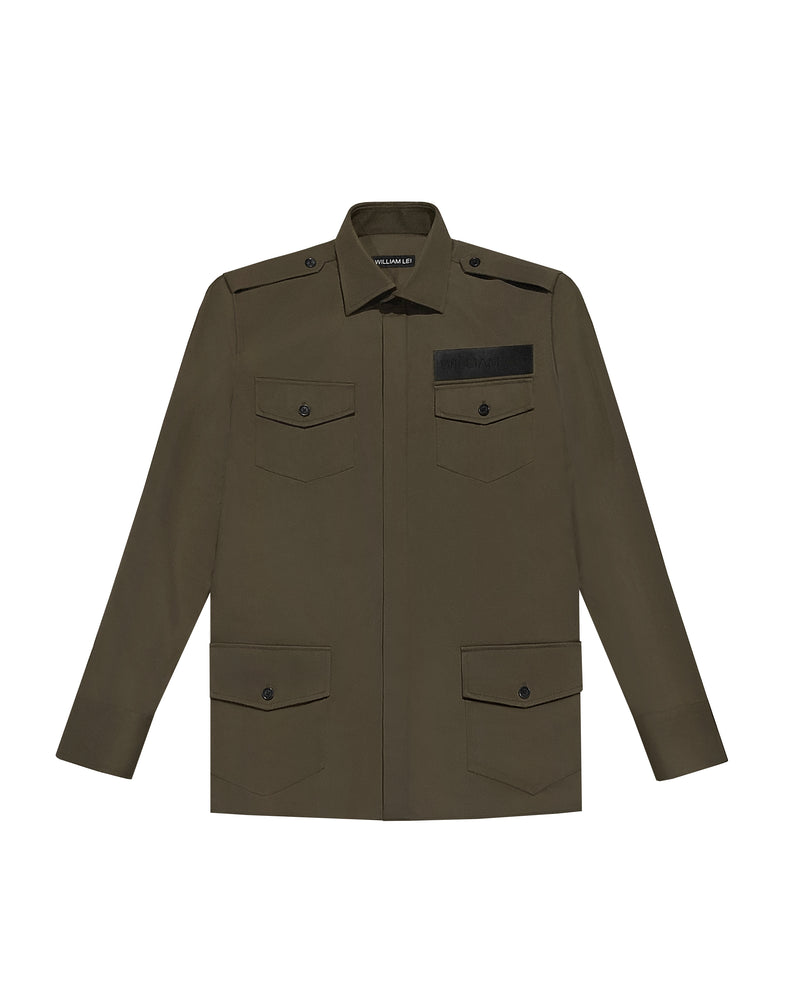 OLIVE TWILL SAFARI JACKET