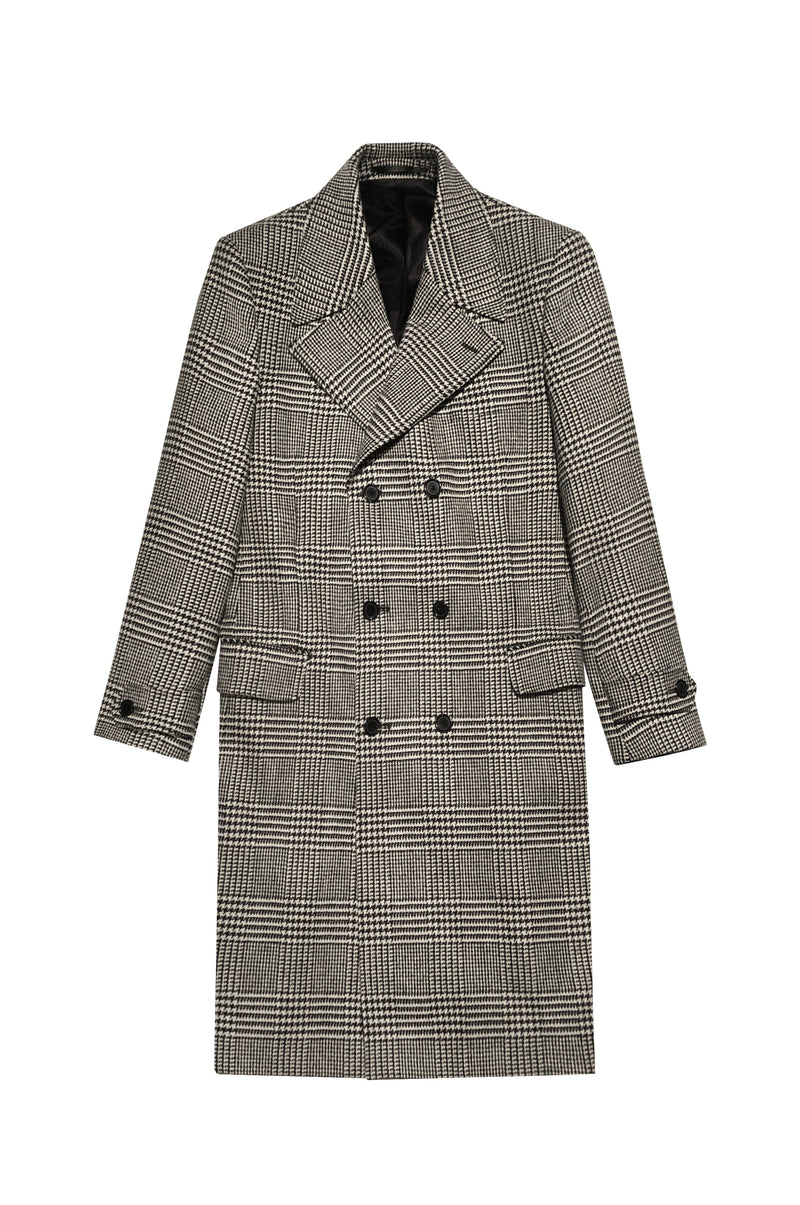 CASHMERE BLEND PRINCE OF WALES DOUBLE BREASTED COAT