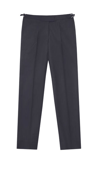 NAVY PINSTRIPE TAILORED TROUSERS (PRE-ORDER)