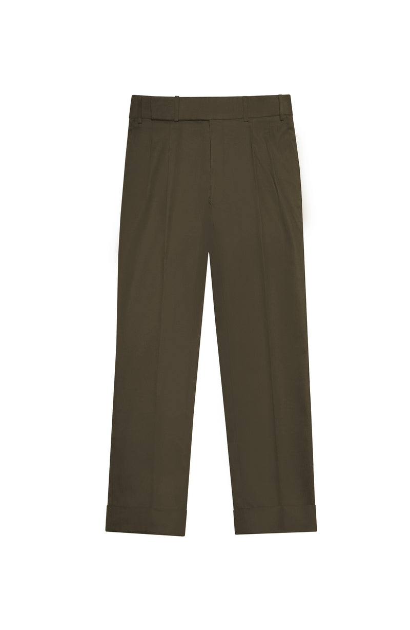 OLIVE PLEATED CROPPED TWILL TROUSERS