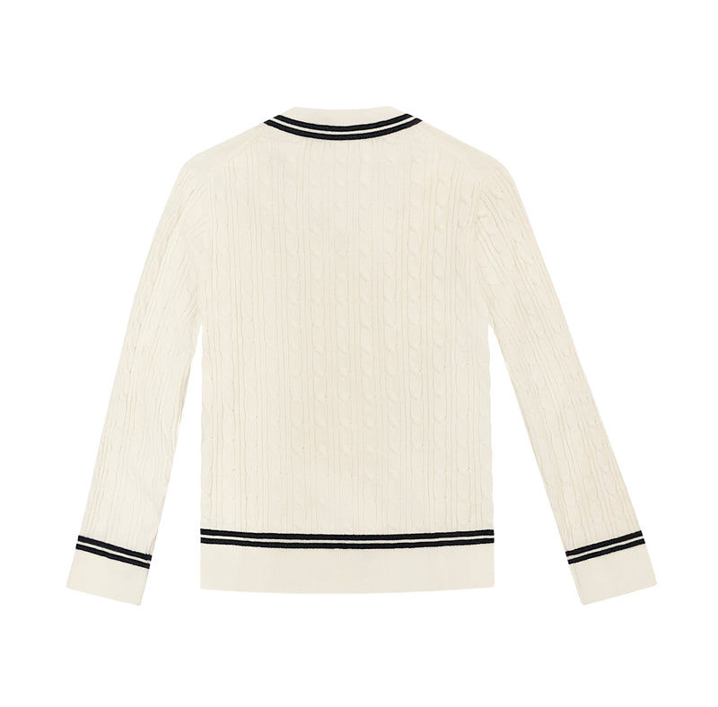 STRIPED COTTON CABLE KNITTED V-NECK SWEATER