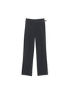 BLACK WOOL PLEATED TROUSERS