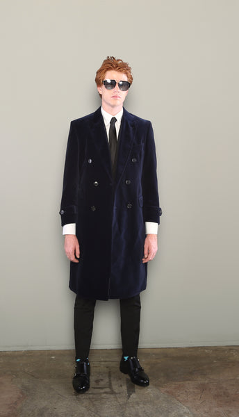 NAVY DOUBLE BREASTED VELVET COAT