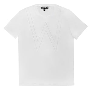 W APPLIQUE CREWNECK T-SHIRT - WHITE