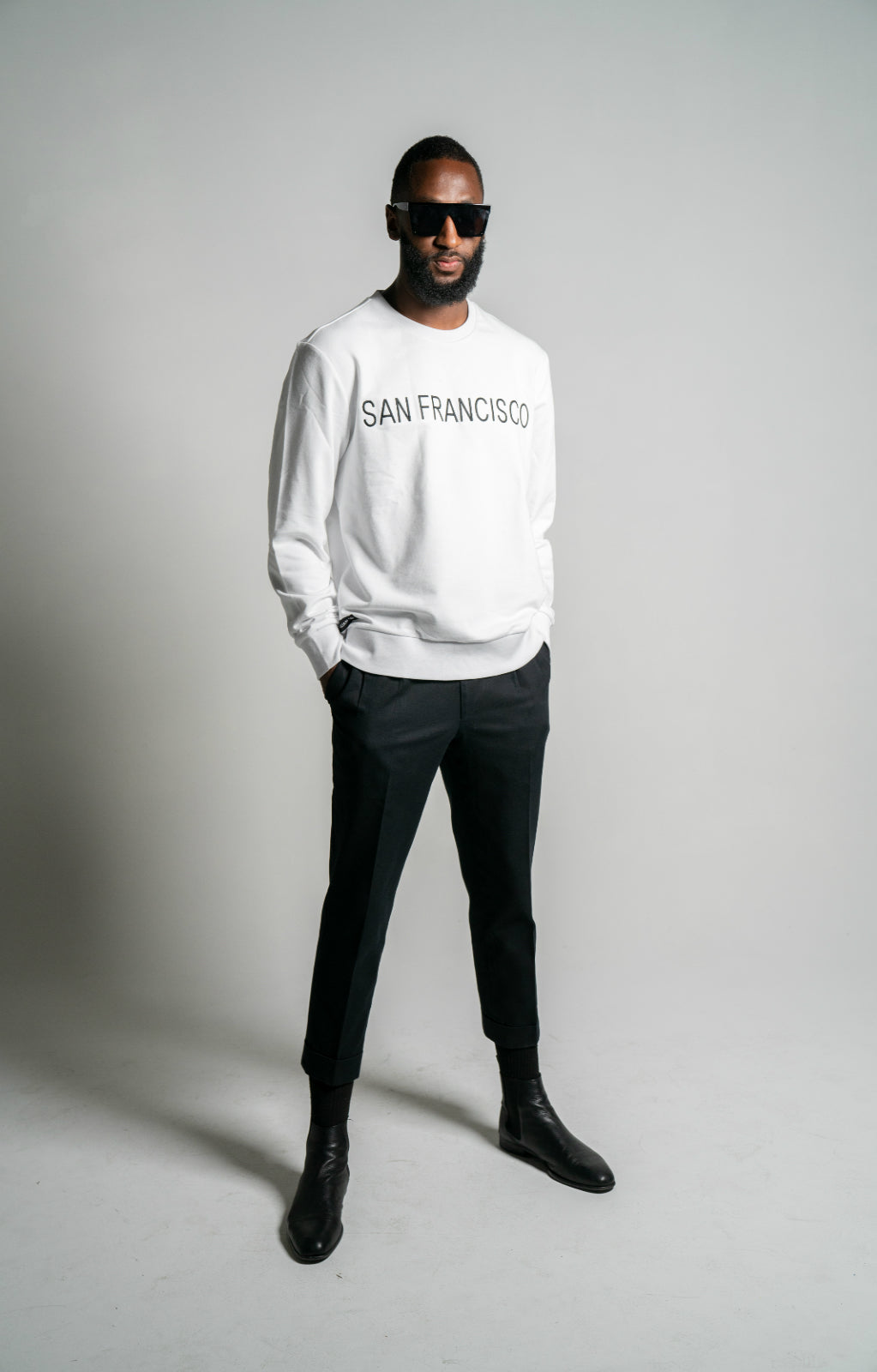 "WHITE ""SAN FRANCISCO"" Embroidered Loopback Cotton Sweatshirt"