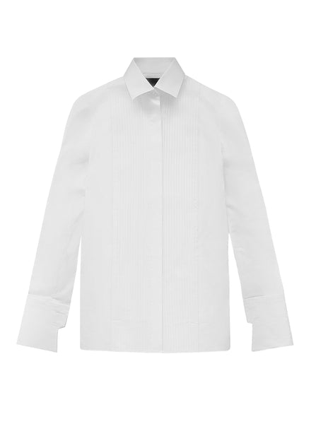 COTTON POPLIN PLEATED SHIRT (PRE-ORDER)