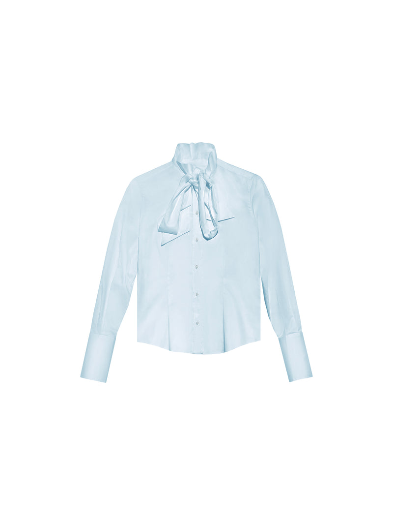 "BLUE ""LAVALLIERE"" PUSSYBOW SILK BLOUSE"
