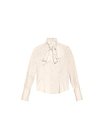 "IVORY ""LAVALLIERE' PUSSYBOW SILK BLOUSE"