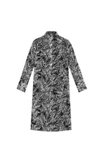 LEAFT PRINTED SILK GAUZE SHIRT DRESS