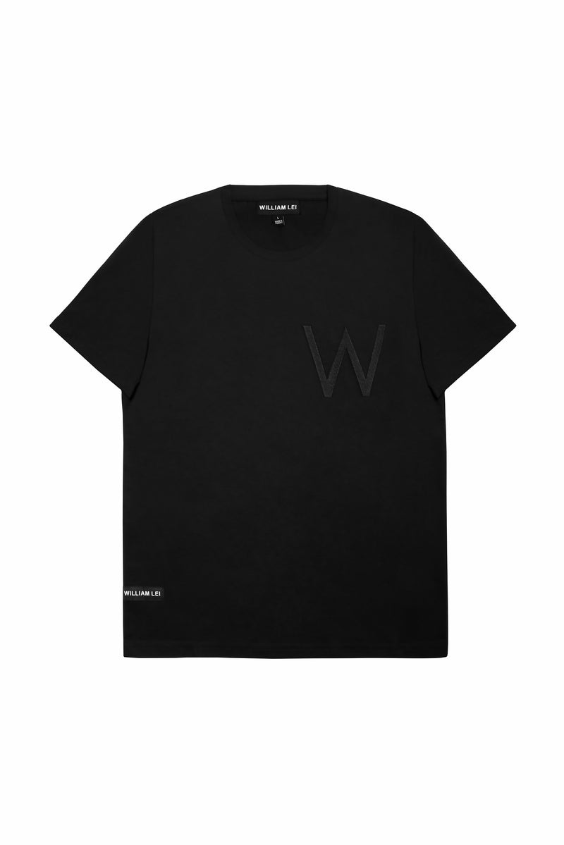 BLACK EMBROIDERY CREWNECK T-SHIRT