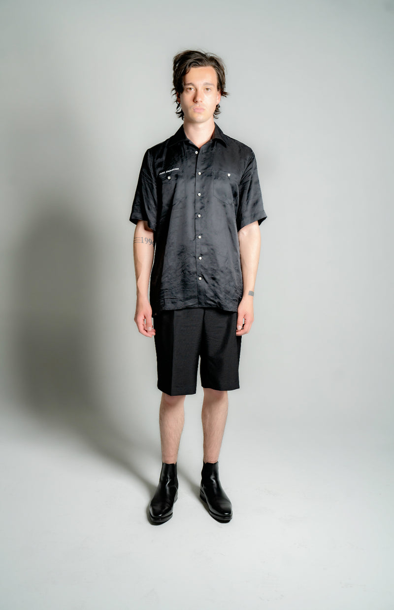 """SAN FRANCISCO"" SILK SATIN CAMPCOLLAR SHIRT"