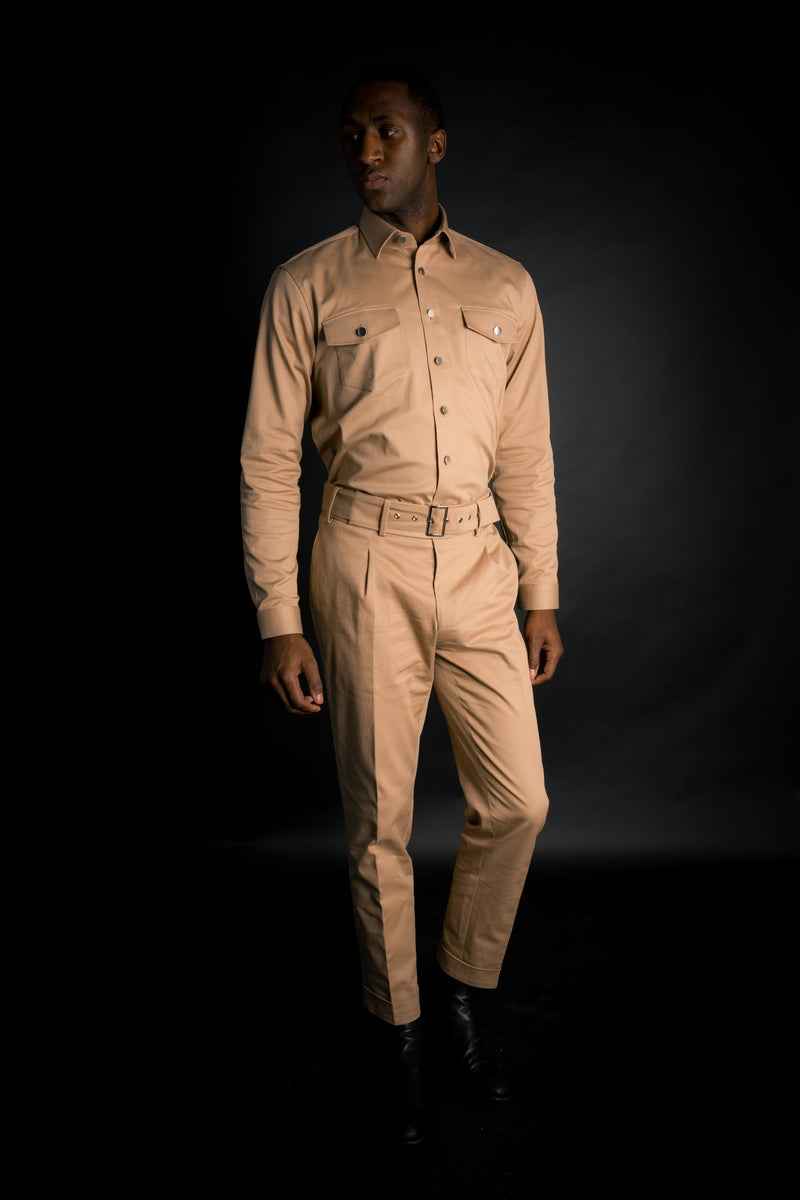 DESSERT TWILL PLEATED TROUSERS WITH BELT