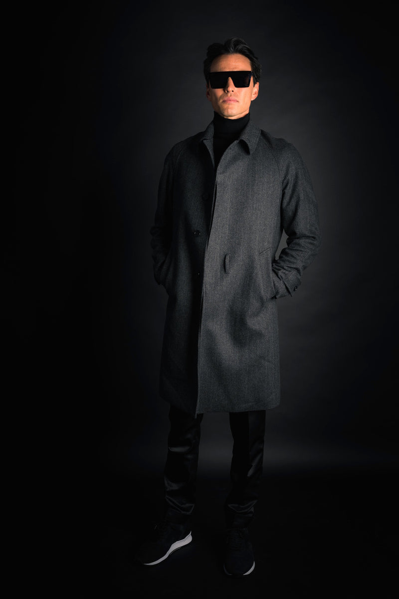 WOOL HERRINGBONE RAGLAN COAT