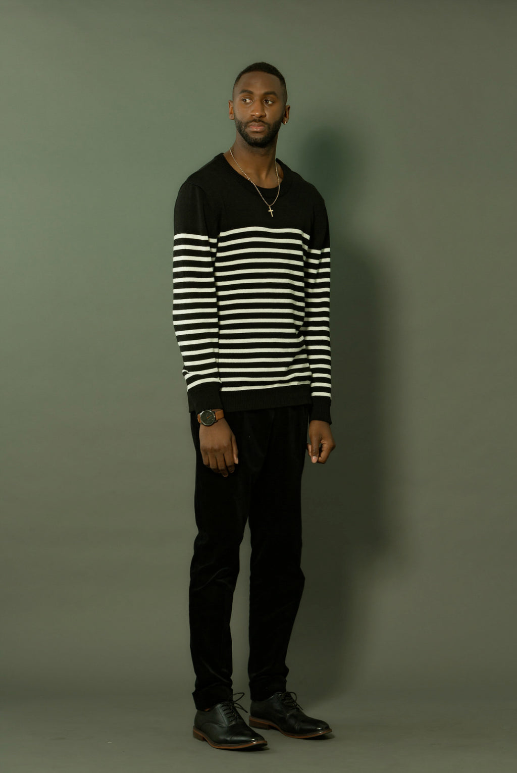 BLACK STRIPED MARINE OVERSIZED SWEATER