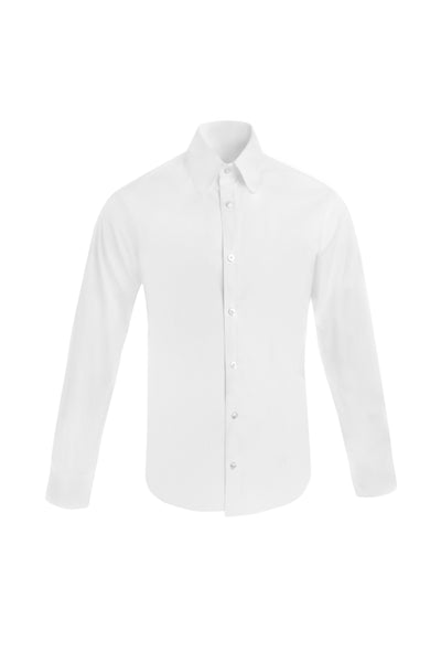WHITE CLUB COLLAR POPLIN SHIRT