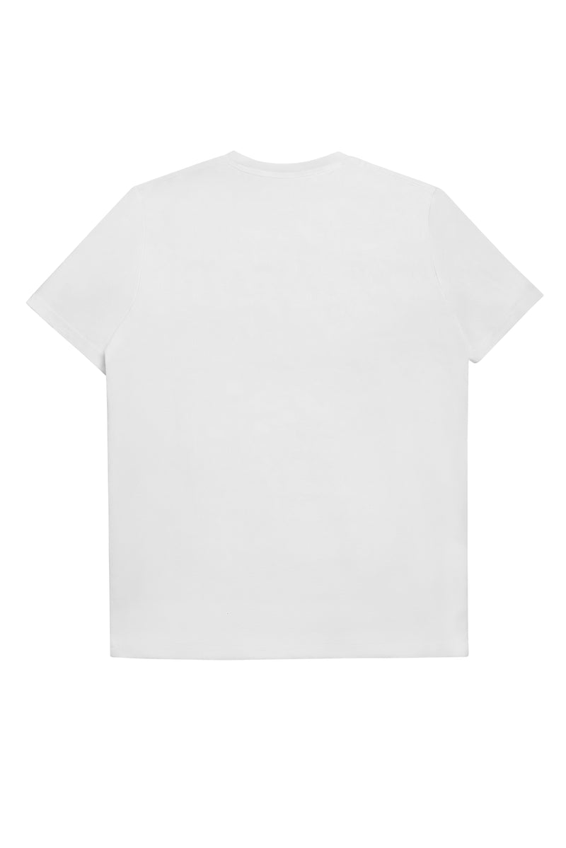WHITE EMBROIDERY CREWNECK T-SHIRT